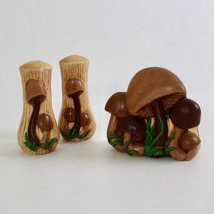 Arnels Mushroom Design Napkin Holder Salt And Pepper Shakers Retro Vintage 1970s